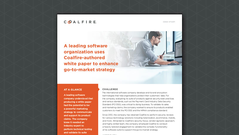 A leading software organization uses Coalfire-authored white paper to enhance go-to-market...